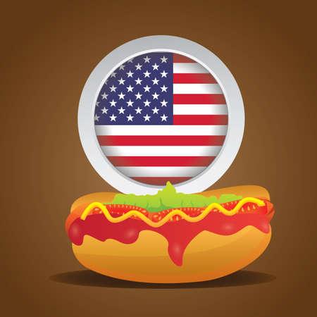 hot dog: hot dog with usa badge