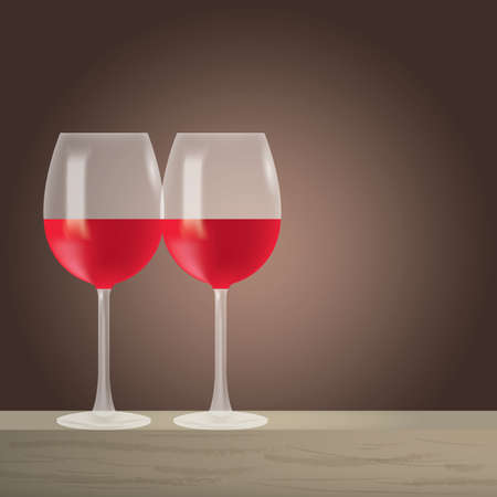 pair of glasses: red wine in glasses