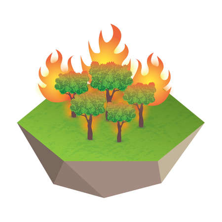burning: burning forest Illustration