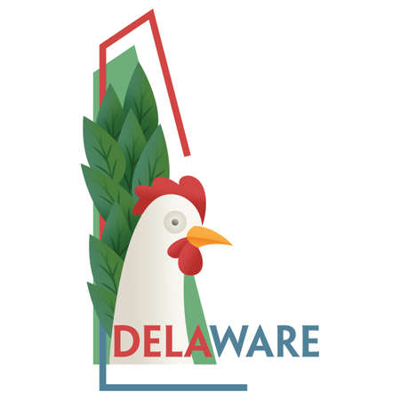delaware: delaware state map Illustration