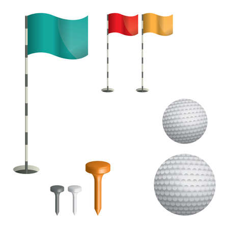 tee: golf flag sticks in holes with tee and golf ball