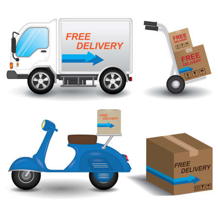 two wheeler: collection of logistic and services Illustration