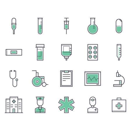boiling tube: doctor icons Illustration
