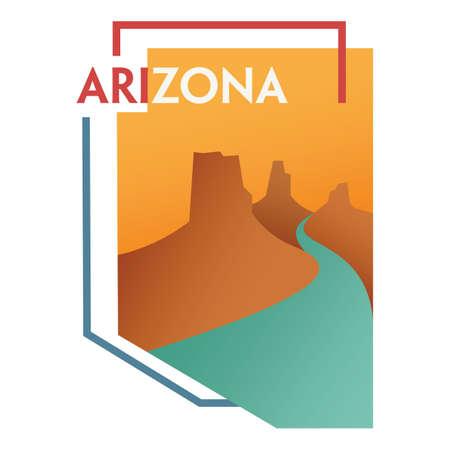 river rock: arizona state map