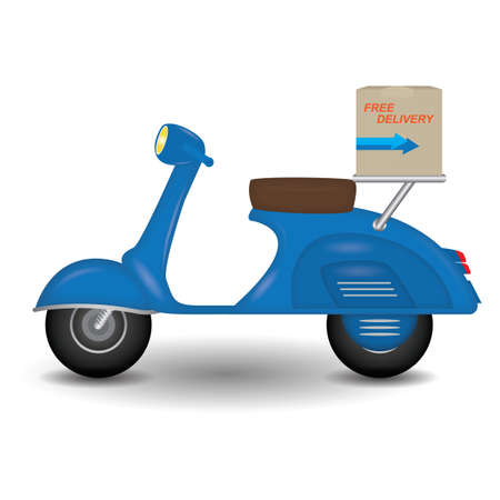 two wheeler: parcel on scooter Illustration