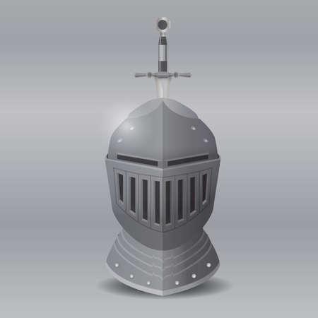 knight helmet: knight helmet with sword Illustration