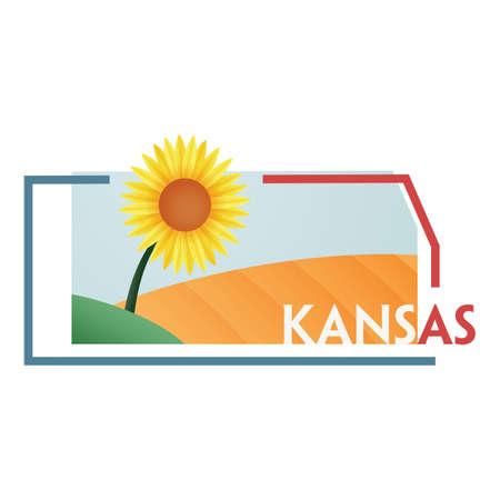 KANSAS: kansas state map Illustration