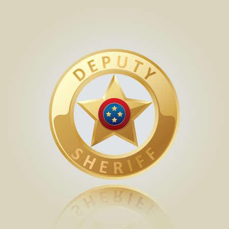 deputy: deputy sheriff badge Illustration
