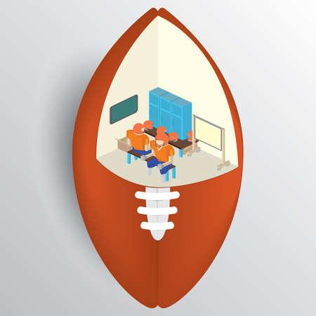 locker: creative football locker room Illustration