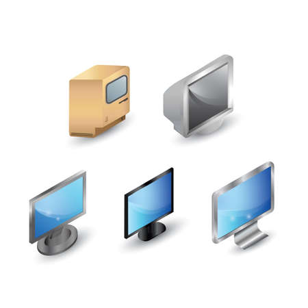old pc: computer monitor set Illustration