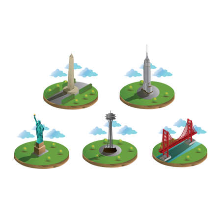 space needle: usa famous landmarks collection Illustration