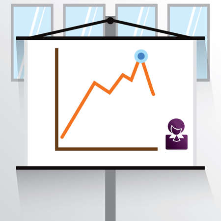 line graph on projection screen Illustration