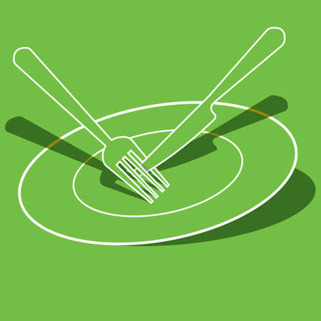 plate: a plate with fork and knife Illustration