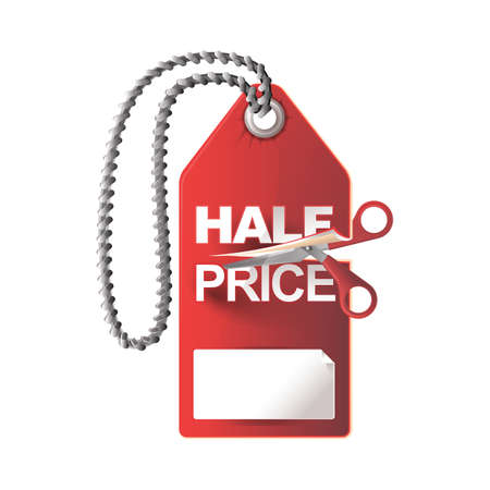 price cut: half price cut tag