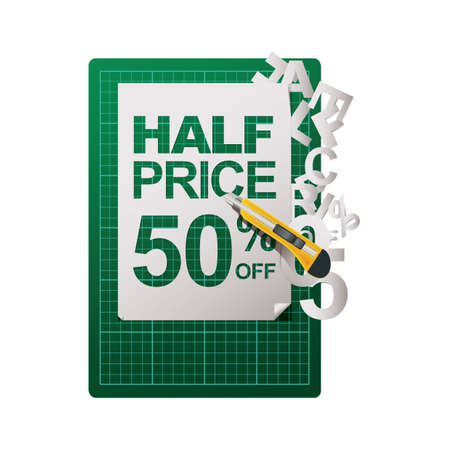 half price: half price cut tag