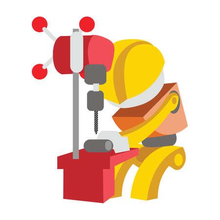 clavados: trabajador con el perforador hueco fijo