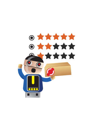 rating: robot doing a product rating