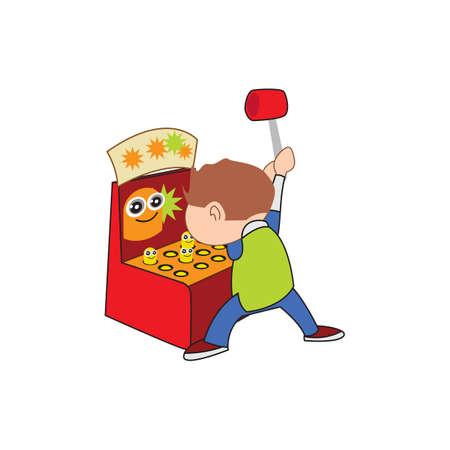 playing video game: boy playing video game Illustration