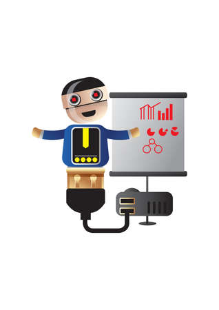 graficas de pastel: robot explicar los gráficos de negocios y gráficos circulares Vectores