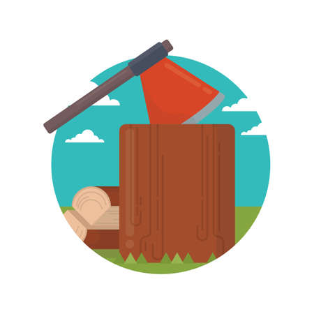 deforestation: axe and wood