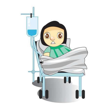 saline: patient with saline bottle on bed
