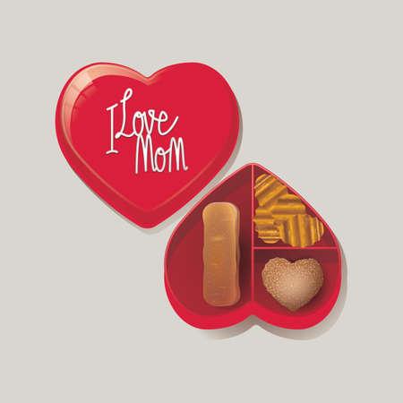 shaped: heart shaped chocolate box Illustration