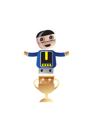 above: robot above trophy shadow Illustration