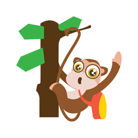 swinging: monkey swinging on sign board tree