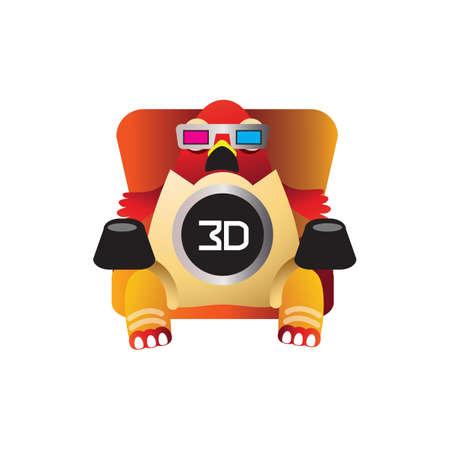 cinema viewing: hen watching 3d movie