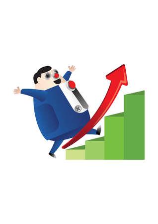 growth: fat businessman growth graph