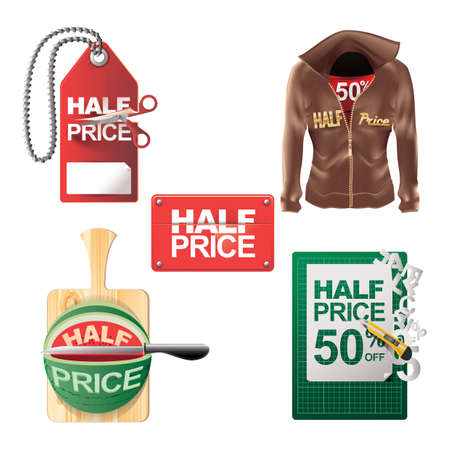 half price: set of half price tags Illustration