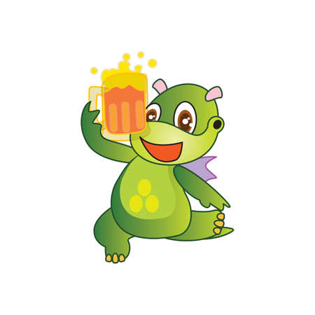 cooled: dragon with chilled beer glass Illustration