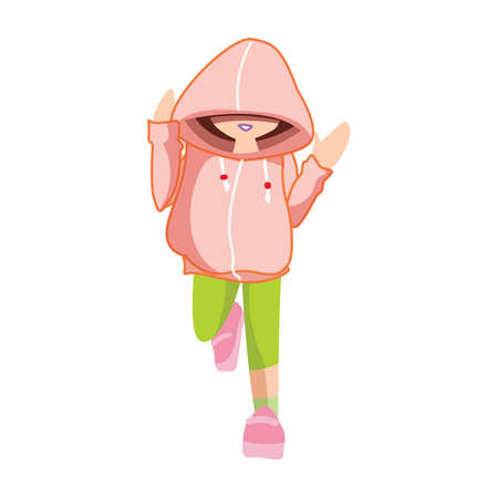 hoodie: girl in hoodie with hands raised Illustration