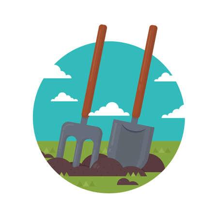 cultivation: shovel and pitchfork