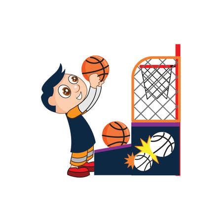 basket ball: boy playing basket ball Illustration