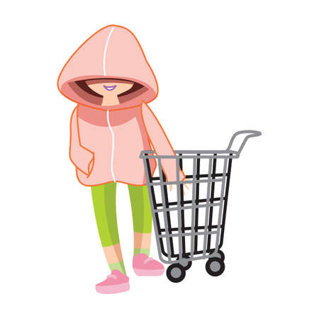 hoodie: hoodie girl with shopping cart Illustration