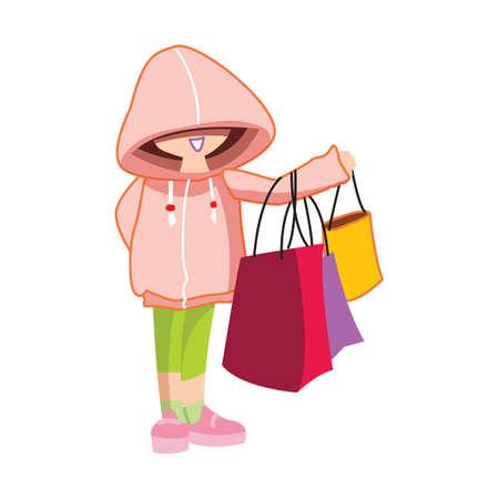 hoodie: hoodie girl with shopping bags