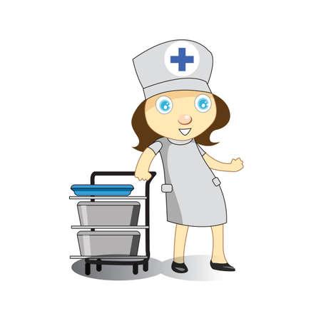 push: nurse with push stand Illustration
