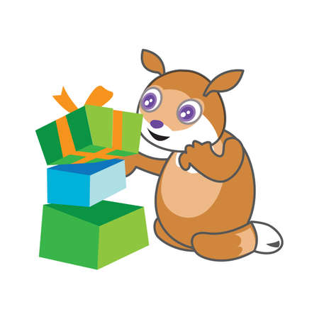 gift packs: squirrel with gift packs