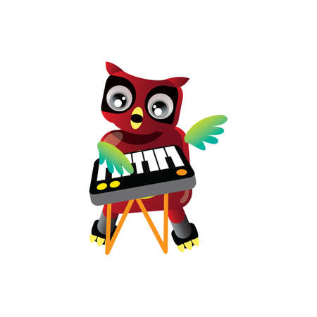 piano key: owl with piano key board Illustration
