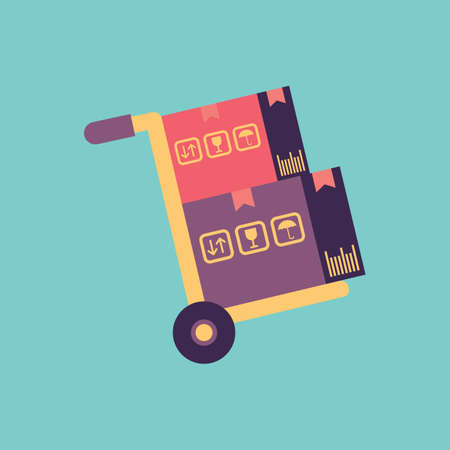 hand truck: hand truck with parcel Illustration
