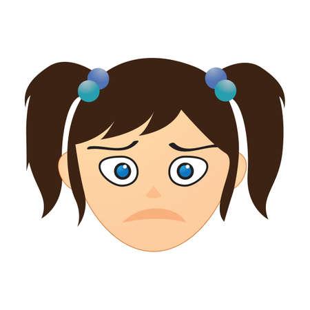 frown: girl feeling upset Illustration