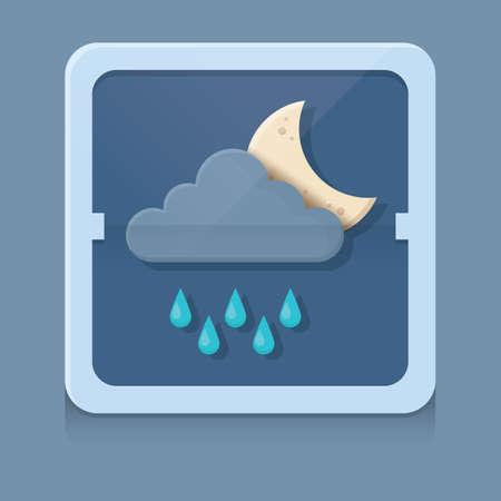 cloud: rain cloud with moon Illustration