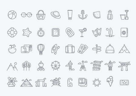 Verzameling van de reis-iconen Stockfoto - 52728741