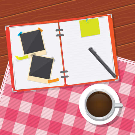 coffee table: working at coffee table Illustration