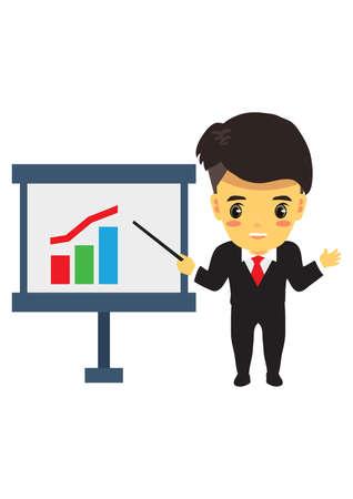 showing: businessman showing report graph Illustration