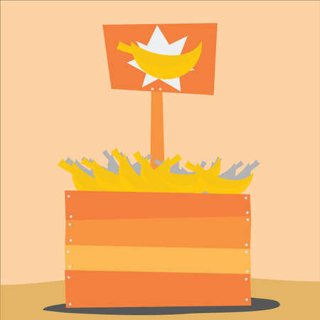 wooden crate: bananas atop wooden crate Illustration