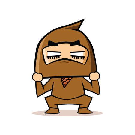 cuclillas: Ninja en la postura en cuclillas Vectores