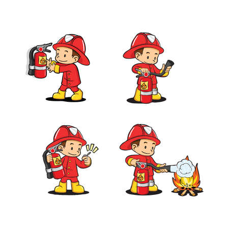 fireman: fireman with extinguisher usage