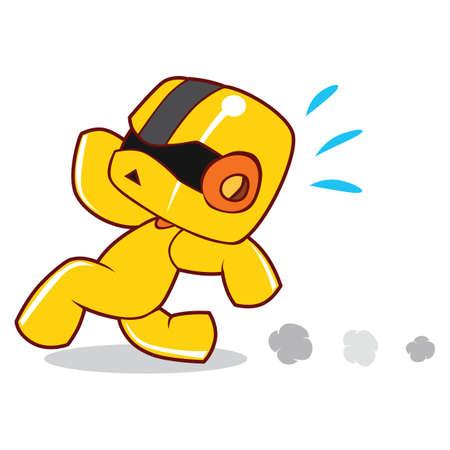 away: robot running away